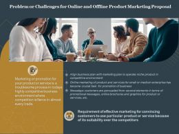 Problem Or Challenges For Online And Offline Product Marketing Proposal Ppt Tips