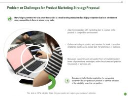 Problem Or Challenges For Product Marketing Strategy Proposal Ppt Presentation Introduction