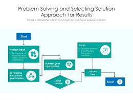 Problem Solving And Selecting Solution Approach For Results