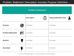 Problem Statement Description Includes Purpose Definition Solution And Innovation