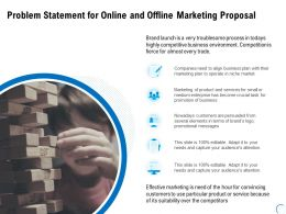 Problem Statement For Online And Offline Marketing Proposal Ppt Ideas