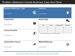 Problem Statement Include Business Case And Other Details Of Solution Stakeholder And Action Item
