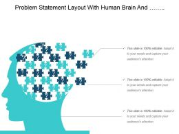 Problem Statement Layout With Human Brain And Puzzle Pieces Ppt Diagrams