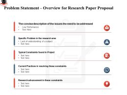 Problem Statement Overview For Research Paper Proposal Typical Constraints Ppt Picture