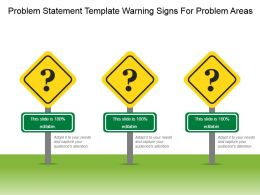 Problem Statement Template Warning Signs For Problem Areas Ppt Images Gallery