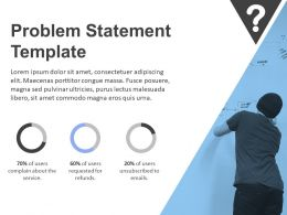 Problem Statement Template With Man Writing On Whiteboard And Data Driven Pie Charts