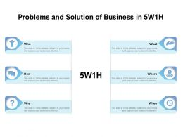 Problems And Solution Of Business In 5w1h