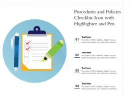 Procedures And Policies Checklist Icon With Highlighter And Pen
