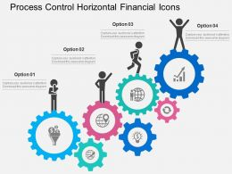 Process Control Horizontal Financial Icons Flat Powerpoint Design