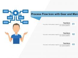 Process Flow Icon With Gear And Man