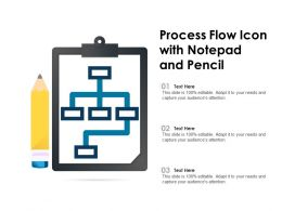 Process Flow Icon With Notepad And Pencil