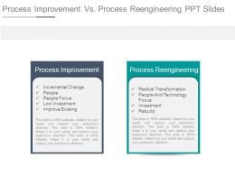 Process Improvement Vs Process Reengineering Ppt Slides