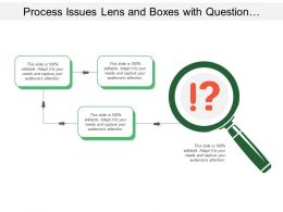 Process Issues Lens And Boxes With Question Mark And Exclamation