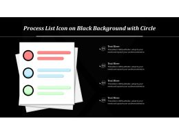 Process List Icon On Black Background With Circle And Quadrilateral Shapes