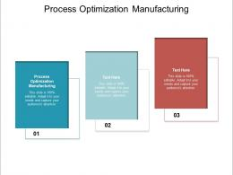 Process Optimization Manufacturing Ppt Powerpoint Presentation Professional Images Cpb