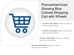 Procurement Icon Showing Blue Colored Shopping Cart With Wheels