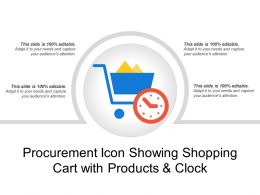 Procurement Icon Showing Shopping Cart With Products And Clock