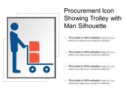 Procurement Icon Showing Trolley With Man Silhouette