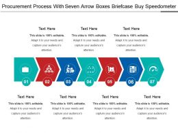 Procurement Process With Seven Arrow Boxes Briefcase Buy Speedometer