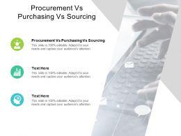 Procurement Vs Purchasing Vs Sourcing Ppt Powerpoint Presentation Elements Cpb