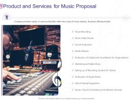 Product And Services For Music Proposal Ppt Powerpoint Presentation Icon