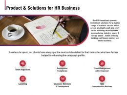 Product And Solutions For HR Business Ppt Powerpoint Presentation Model Example