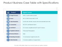 Product Business Case Table With Specifications