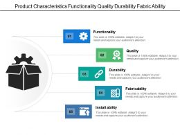 Product Characteristics Functionality Quality Durability Fabric Ability