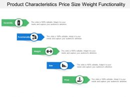 Product Characteristics Price Size Weight Functionality
