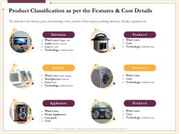 Product Classification As Per The Features And Cost Details Television Ppt Slides