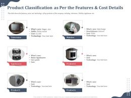 Product Classification As Per The Features Including Television Ppt Model