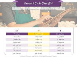 Product Cycle Checklist Ppt Powerpoint Presentation Show Infographics