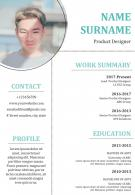 Product Designer Resume Sample Format With Profile Details