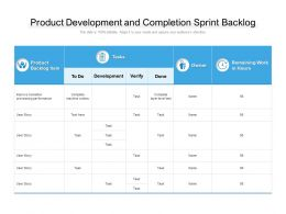 Product Development And Completion Sprint Backlog