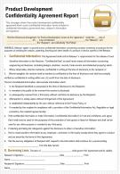 Product Development Confidentiality Agreement Report Presentation Report Infographic PPT PDF Document