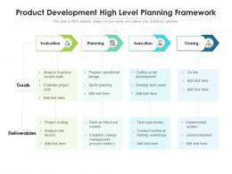 Product Development High Level Planning Framework