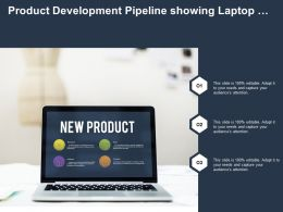 Product Development Pipeline Showing Laptop With New Product Categories