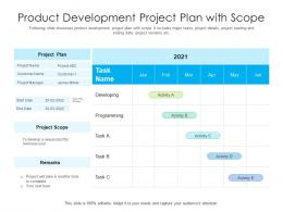 Product Development Project Plan With Scope