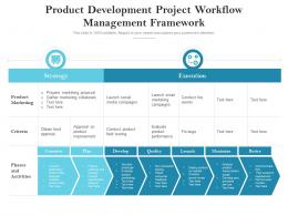Product Development Project Workflow Management Framework