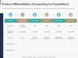 Product Differentiation Comparing To Competitors Pitchbook Ppt Summary
