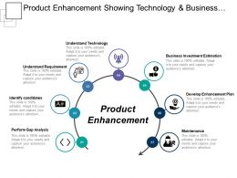 Product Enhancement Showing Technology And Business Investment Estimation