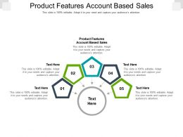 Product Features Account Based Sales Ppt Powerpoint Presentation Model Format Ideas Cpb