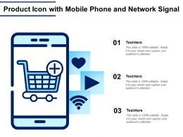 Product Icon With Mobile Phone And Network Signal
