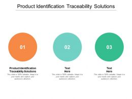 Product Identification Traceability Solutions Ppt Powerpoint Presentation Professional Cpb