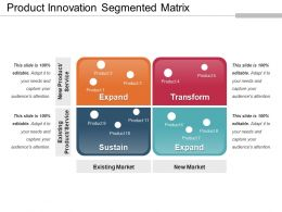 Product Innovation Segmented Matrix Ppt Examples Slides