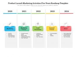 Product Launch Marketing Activities Five Years Roadmap Template