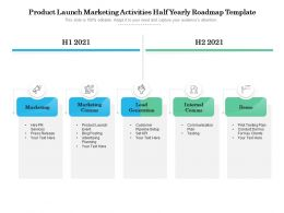 Product Launch Marketing Activities Half Yearly Roadmap Template