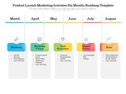 Product Launch Marketing Activities Six Months Roadmap Template