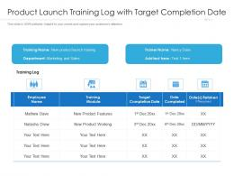 Product Launch Training Log With Target Completion Date