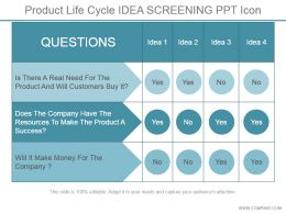 Product Life Cycle Idea Screening Ppt Icon